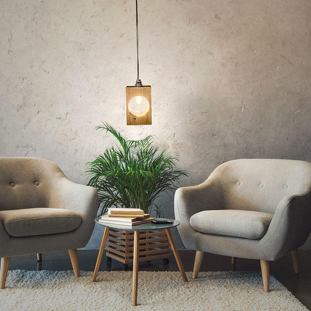 Lámparas de madera colgantes